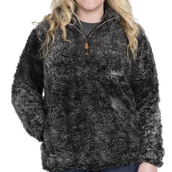 Simply Southern Tops - Simply Southern Black/Grey Sherpa Size Small